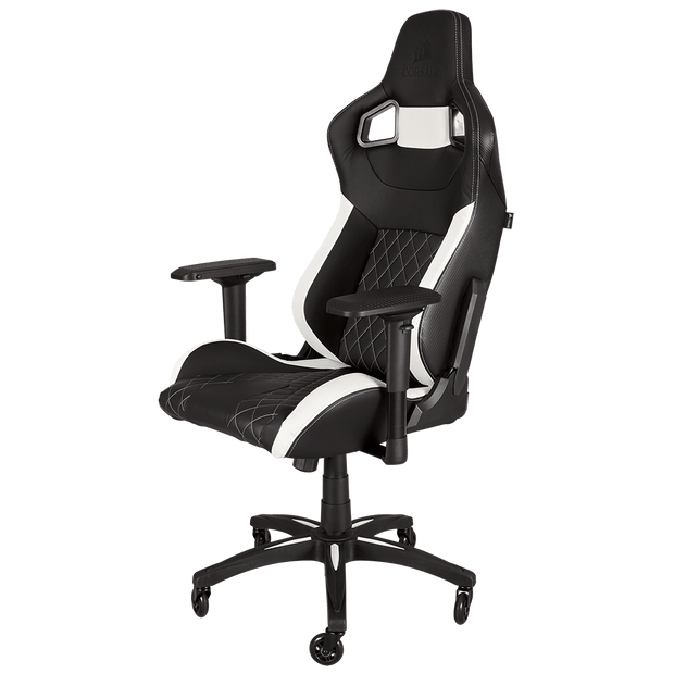 CORSAIR T1 RACE 2018 Gaming Chair - Black/White CF-9010012-WW front angular view