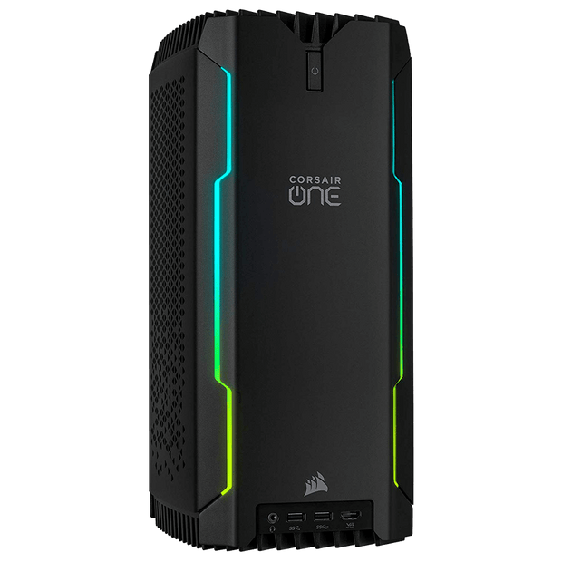 CORSAIR ONE i160 Gaming Desktop CS-9020003-NA front panel angular view