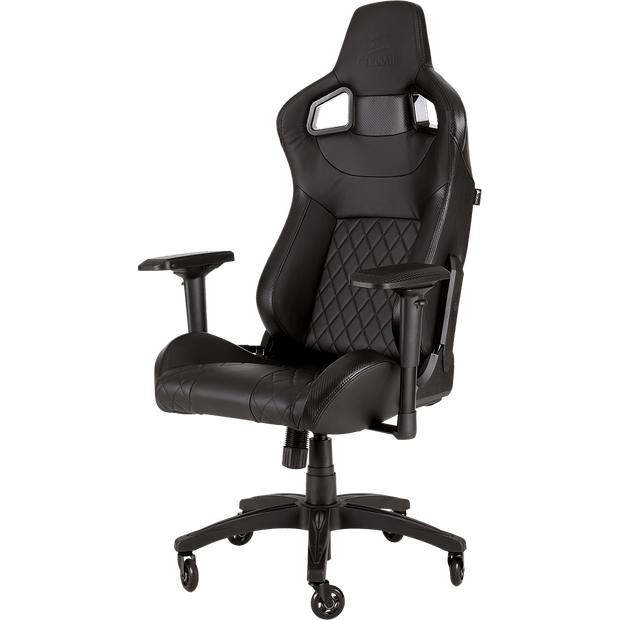 CORSAIR T1 RACE 2018 Gaming Chair - Black/Black CF-9010011-WW front angular view