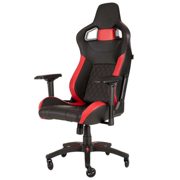 CORSAIR T1 RACE 2018 Gaming Chair - Black/Red CF-9010013-WW front angular view