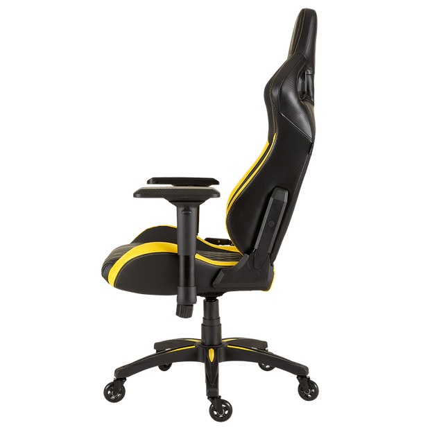 CORSAIR T1 RACE 2018 Gaming Chair - Black/Yellow CF-9010015-WW side view