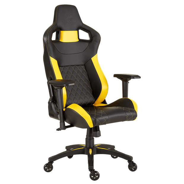 CORSAIR T1 RACE 2018 Gaming Chair - Black/Yellow CF-9010015-WW angular front view