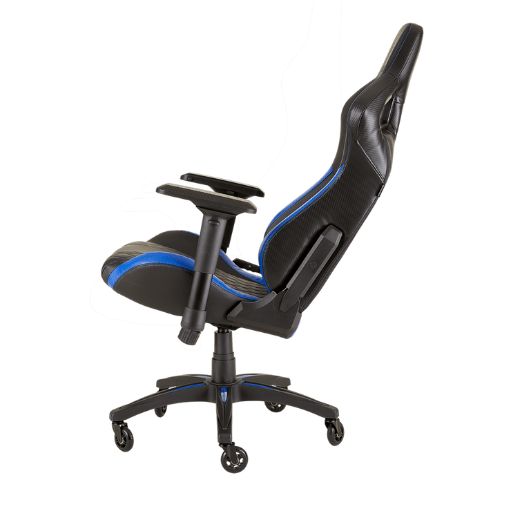 CORSAIR T1 RACE 2018 Gaming Chair - Black/Blue CF-9010014-WW tilted view