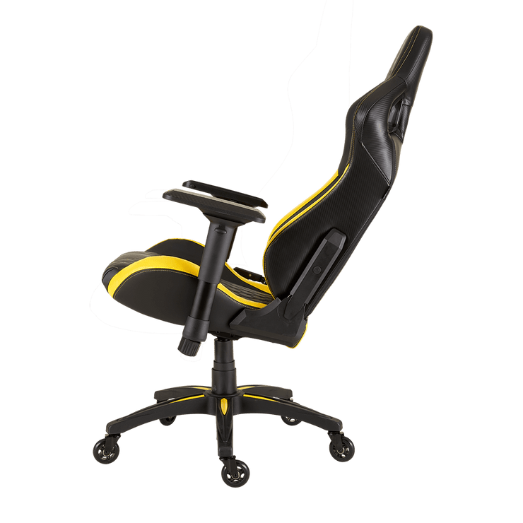 CORSAIR T1 RACE 2018 Gaming Chair - Black/Yellow CF-9010015-WW tilted seat view