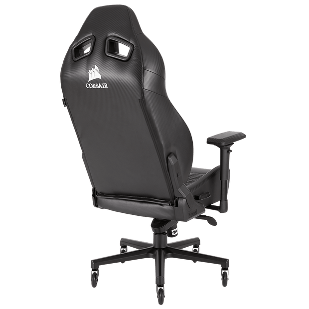 CORSAIR T2 ROAD WARRIOR Gaming Chair - Black/Black CF-9010006-WW angular back view