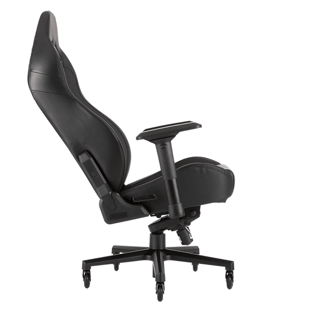 CORSAIR T2 ROAD WARRIOR Gaming Chair - Black/Black CF-9010006-WW tilted seat view