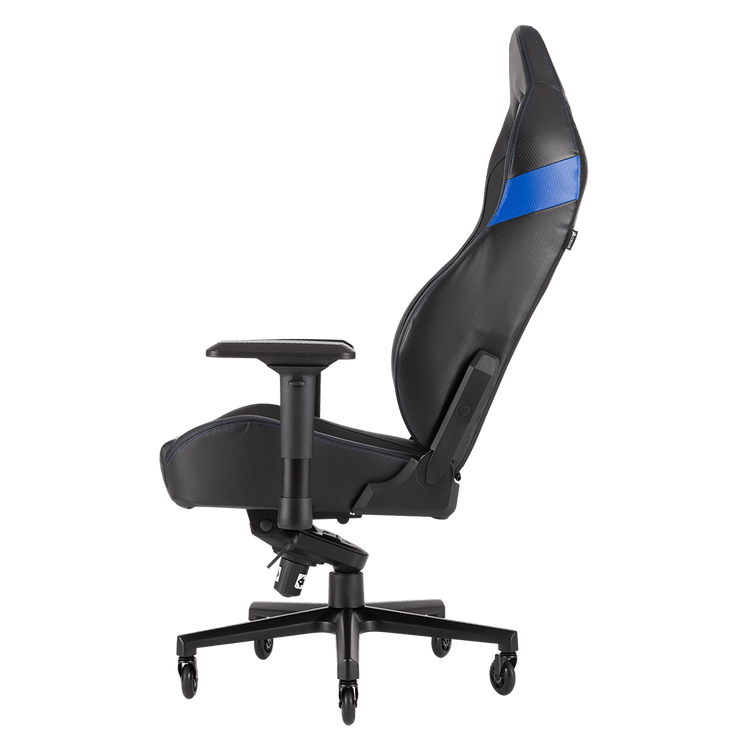 CORSAIR T2 ROAD WARRIOR Gaming Chair - Black/Blue CF-9010009-WW side view
