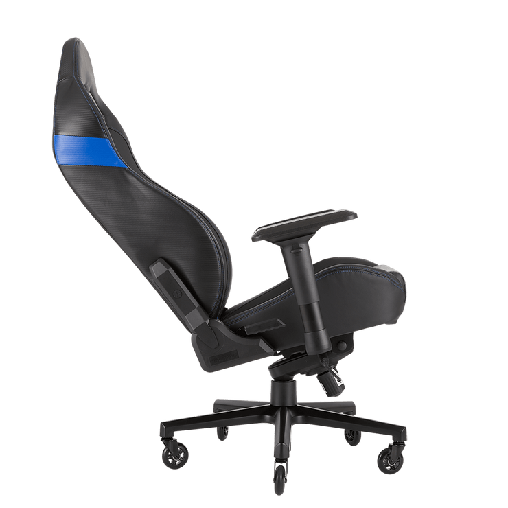 CORSAIR T2 ROAD WARRIOR Gaming Chair - Black/Blue CF-9010009-WW tilted seat view