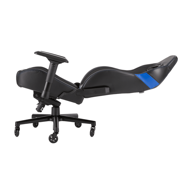 CORSAIR T2 ROAD WARRIOR Gaming Chair - Black/Blue CF-9010009-WW leaning view