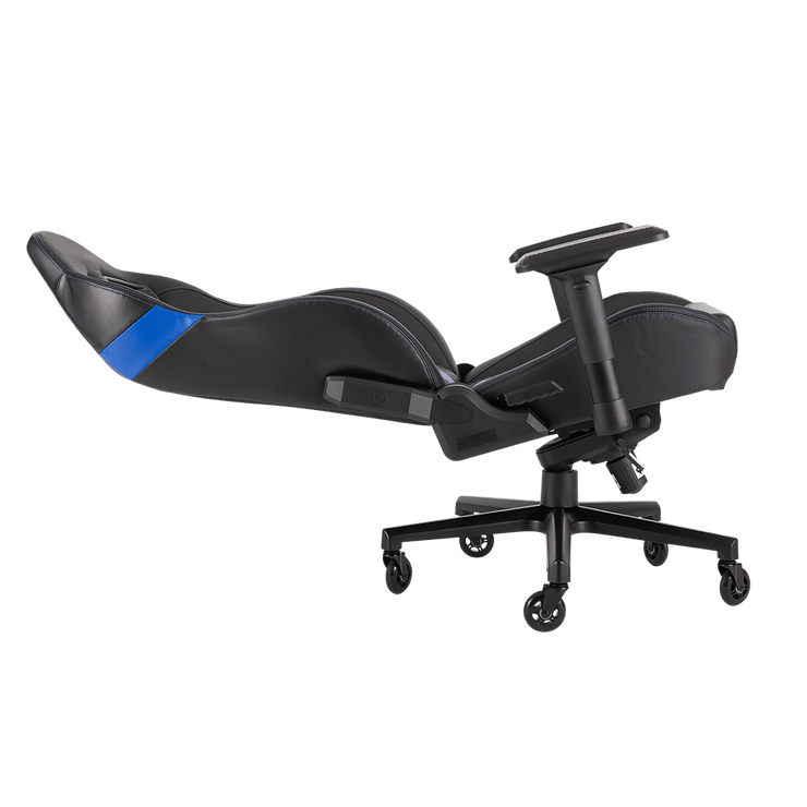 CORSAIR T2 ROAD WARRIOR Gaming Chair - Black/Blue CF-9010009-WW leaning seat view