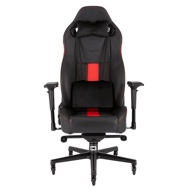 CORSAIR T2 ROAD WARRIOR Gaming Chair - Black/Red CF-9010008-WW front view