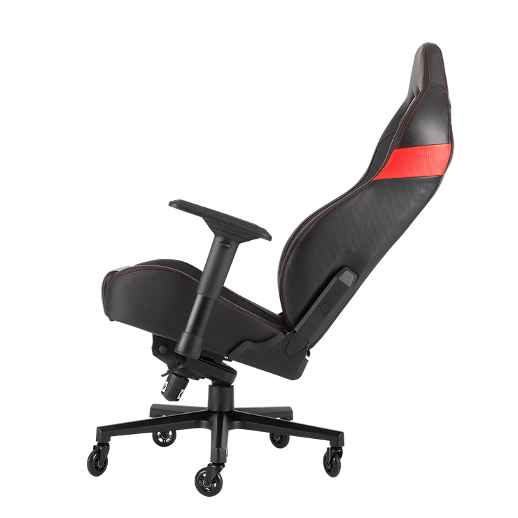 CORSAIR T2 ROAD WARRIOR Gaming Chair - Black/Red CF-9010008-WW tilted seat view