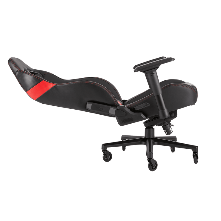 CORSAIR T2 ROAD WARRIOR Gaming Chair - Black/Red CF-9010008-WW leaning seat view