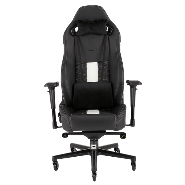 CORSAIR T2 ROAD WARRIOR Gaming Chair - Black/White CF-9010007-WW front view