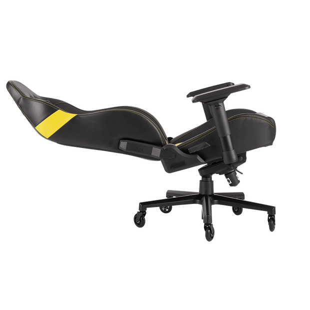 CORSAIR T2 ROAD WARRIOR Gaming Chair - Black/White CF-9010007-WW leaning seat view