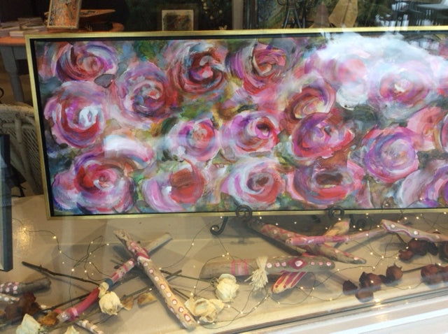 Roses Blooming in the Gallery Window