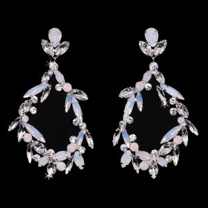 E2163 Rhinestone and Opal Earrings
