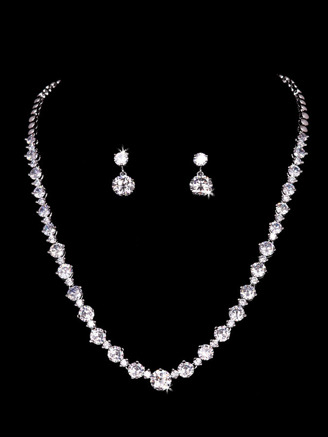 NL2153 Rhinestone Necklace and Earring Set