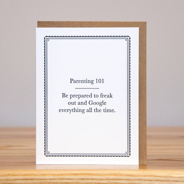 Parenting 101 Letterpress Card