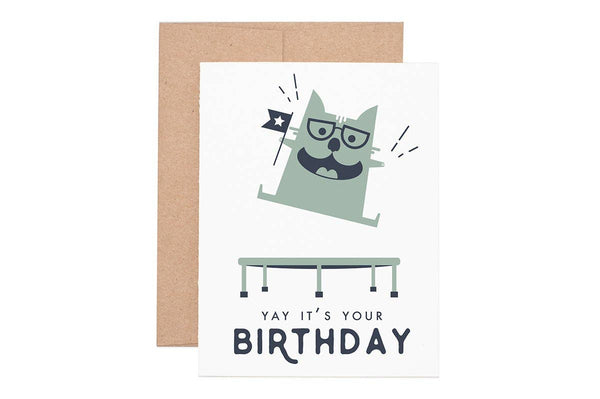 Yay Cat Birthday Greeting Card