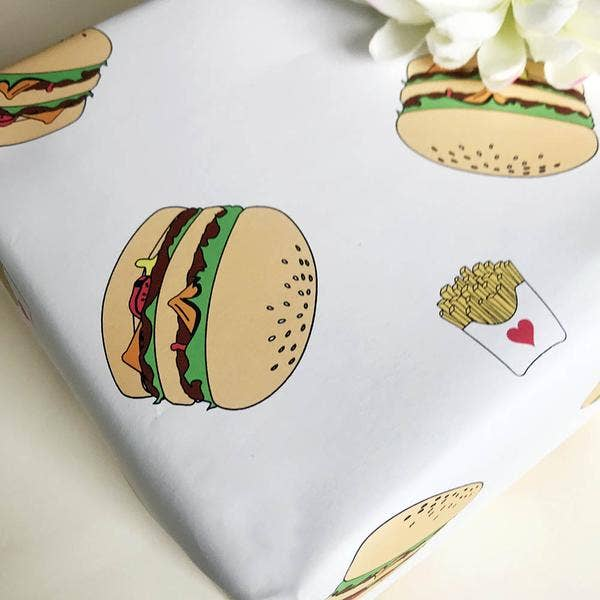 Burger and Fries Gift Wrap Sheets - Set of 3