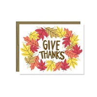 Give Thanks Fall Leaves Card