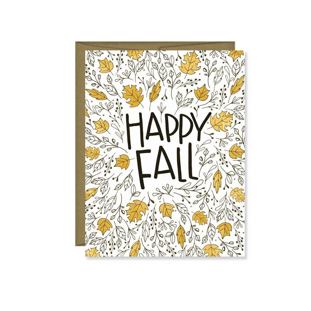 Pen & Paint - Happy Fall Brown Gold Leaves Card