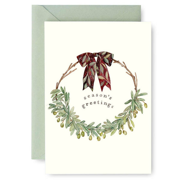 Olive Wreath Holiday Card