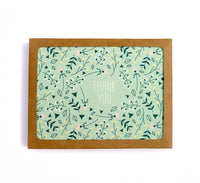 Mint Floral Pattern Thank You Card Set