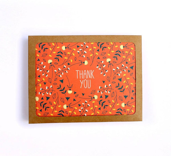 Red Floral Pattern Thank You Card Set