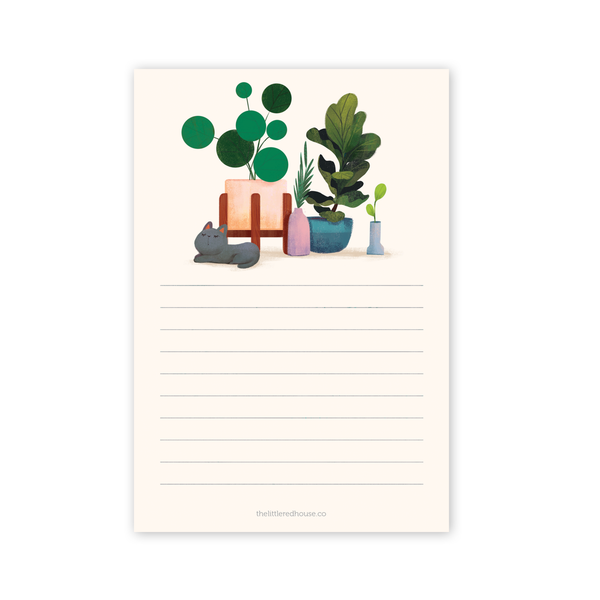 Cat with Plants Lined Notepad