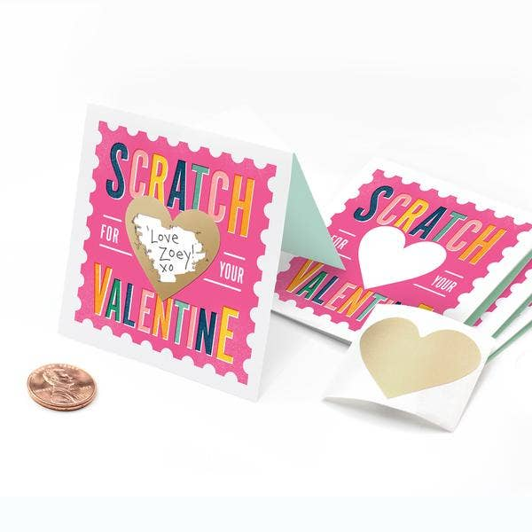 Scratch-off Stamp Valentines Pink - Box of 18
