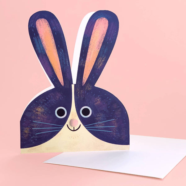 Blue Bunny Die-Cut Card