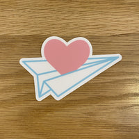 Paper Plane Heart Sticker