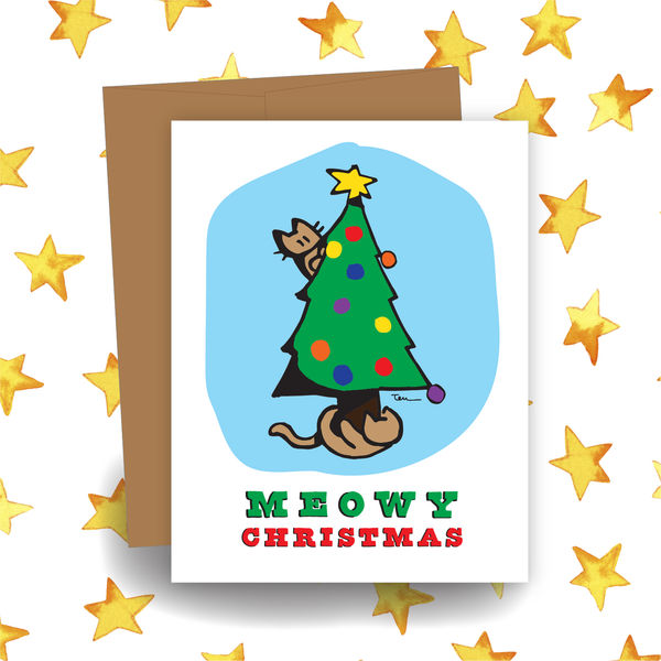 Meowy Christmas in Color Card