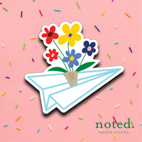 Paper Plane Flowers Sticker