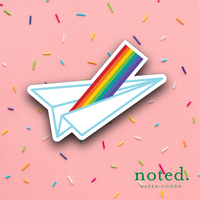 Paper Plane Rainbow Sticker