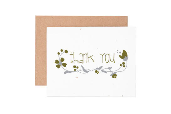 Ruff House Art - Floral Thank You Seeded Greeting Card (Boxed Set of 6)