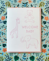 Pink Welcome Baby Card