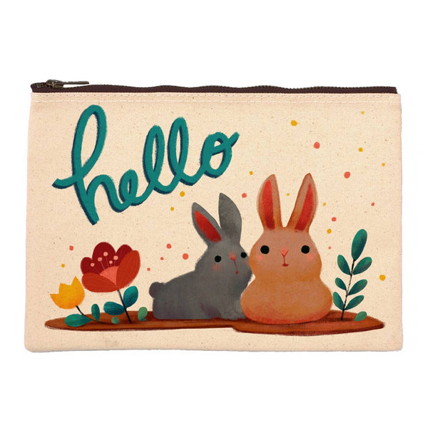 Black and Brown Bunnies Hello Pouch