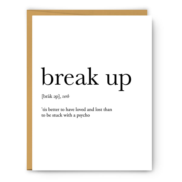 Break Up Definition Greeting Card
