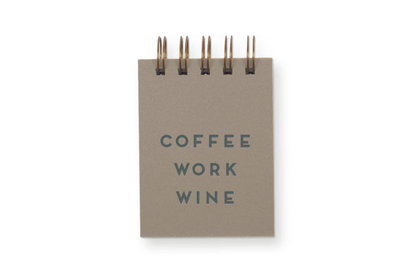 Coffee Work Wine Mini Jotter Notebook