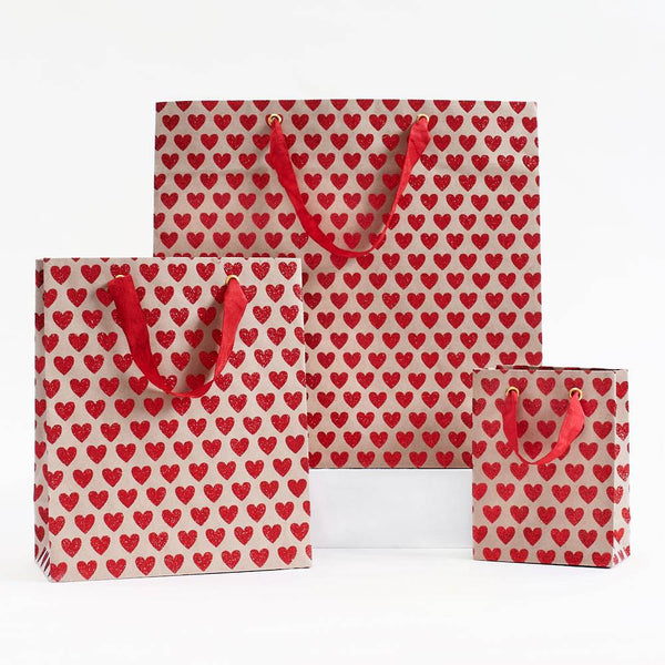 Glitter Heart Gift Bags - Two Sizes