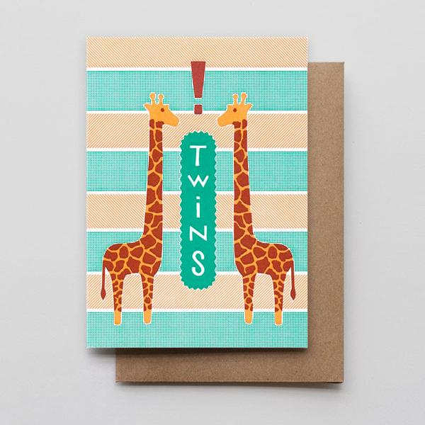 Giraffe Twins Greeting Card