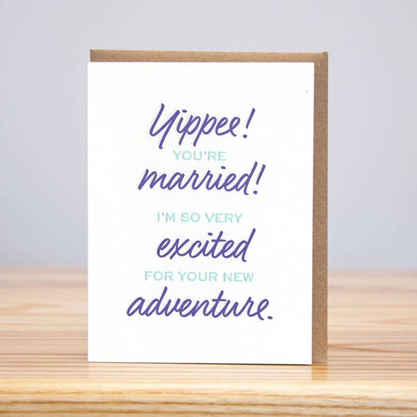 Yippee Wedding Adventure Letterpress Card