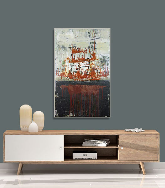 Translation of Miroirs III. Une barque sur l'ocean  (Ravel) - Original Painting on Canvas