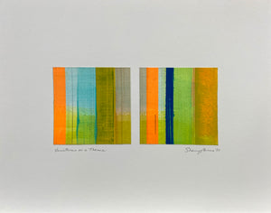 Variations on a Theme - Orange Diptych - Acrylic and graphite on paper