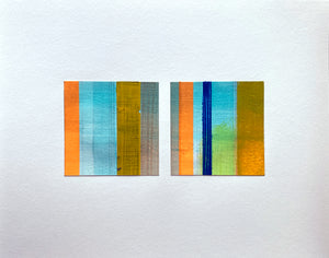 Variations on a Theme - Green Diptych - Acrylic washi graphite on paper