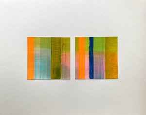 Variations on a Theme - Pink Diptych - Acrylic washi graphite on paper