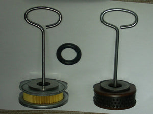 Later Style Wire Handle mounted Filter, new Filter Kit left side, original Filter right side